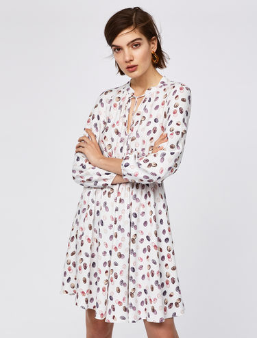 Printed fit & flare sablé dress
