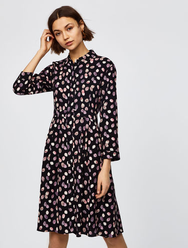 Printed shirt dress with pleats