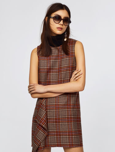 Tartan check dress with ruffle detail