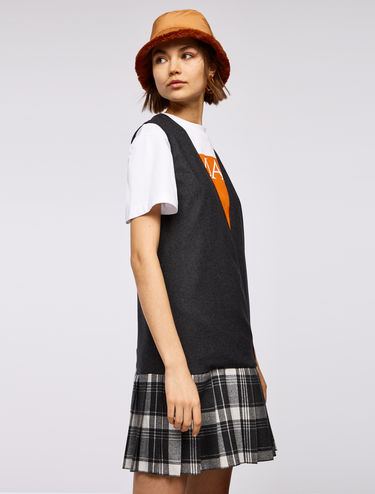 Pinafore dress with checked skirt