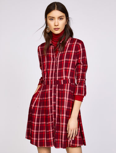 Check flannel shirt dress