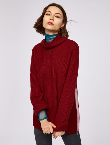 Ribbed jumper with contrasting zip