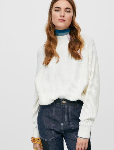 Batwing jumper with contrasting zip