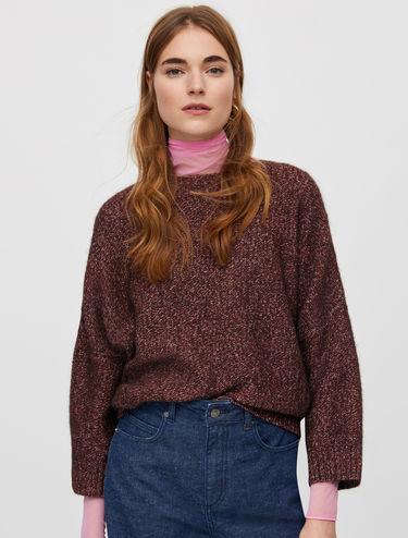 Lamé-blend batwing jumper