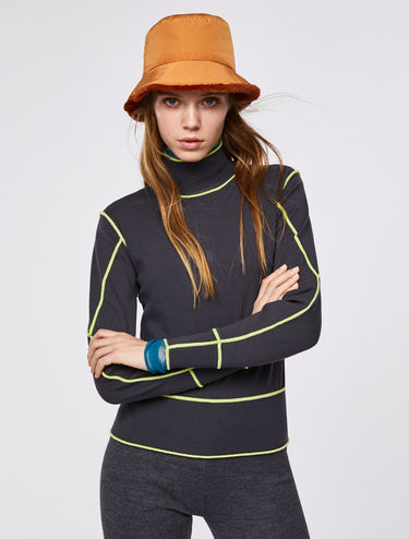 Polo neck jumper with 3D neon trim