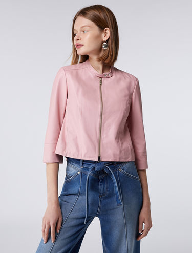 Cropped nappa jacket
