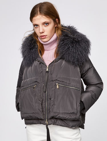 Short down jacket with Mongolian fur trim