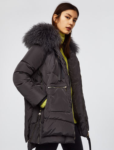 Medium down jacket with Mongolian fur trim