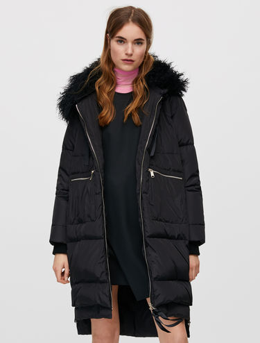 Long down jacket with Mongolian fur trim
