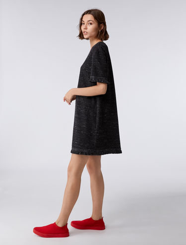 Jacquard jersey dress with fringing