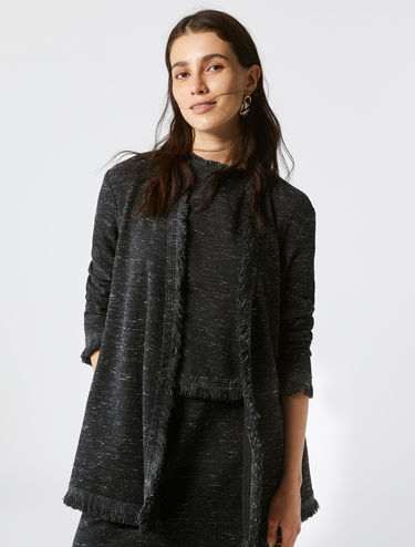 Jacquard jersey jacket with fringing