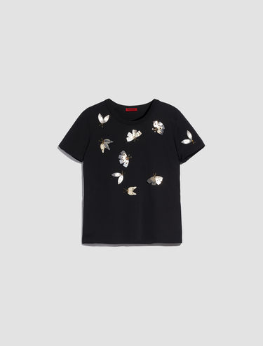 T-shirt with jewelled butterflies