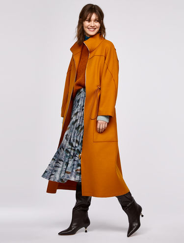Full-length coat with drawstring detail