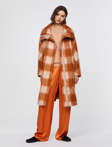 Oversized check coat with turn-up collar