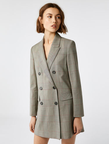 Blazer long à carreaux