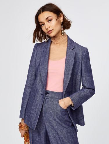 Wool-linen chevron blazer