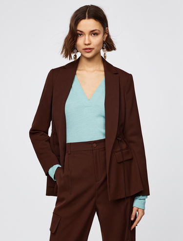 Twill blazer with drawstring waist