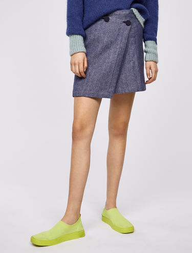 Wool-linen chevron wraparound mini skirt