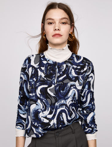 Printed blouse with drawstring