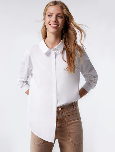 Poplin shirt with lace bow detail