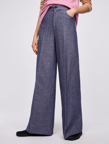 Wool-linen wide-leg chevron trousers