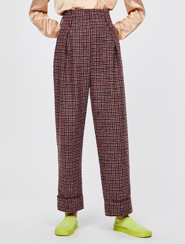 Darted bouclé trousers