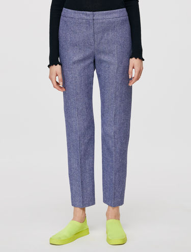 Slim-fit wool/linen chevron trousers