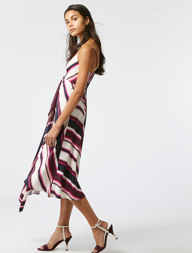 Graphic stripe midi-dress