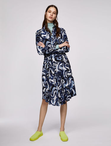 Printed shirt dress with drawstring waist