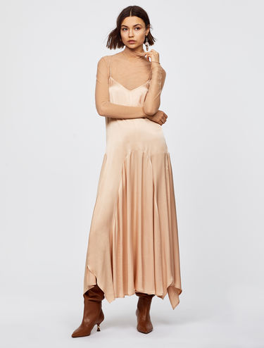 Strappy satin dress with asymmetric hem