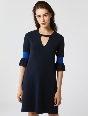 Knit dress with neon inserts