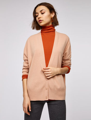 Oversized pure wool cardigan