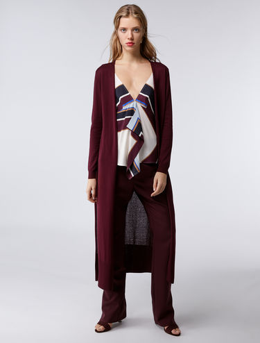 Maxi cardigan in silk-cotton