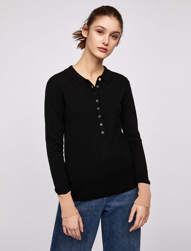 Slim-fit polo jumper with contrasting cuffs