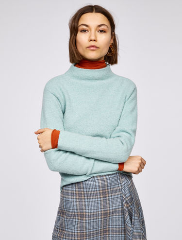 Bouclé jumper with funnel neck