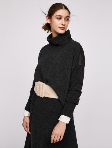 Bouclé jumper with zip detail