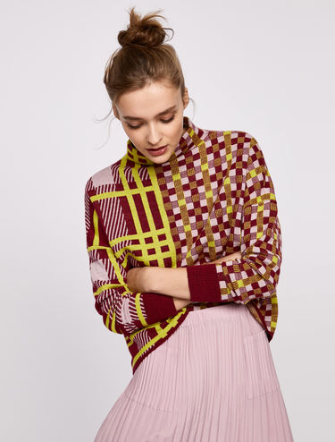 Jacquard jumper with a mixed check pattern