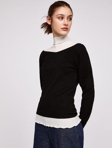 Slim-fit jumper with 3D bands