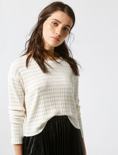 Ribbed and micro-stripe sweater