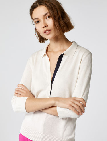 Polo shirt with deep neckline