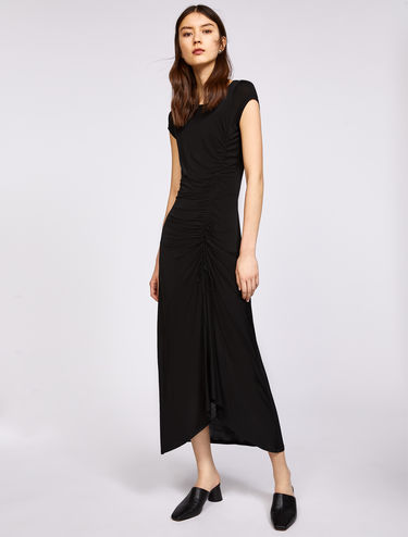 Asymmetric drape maxi dress