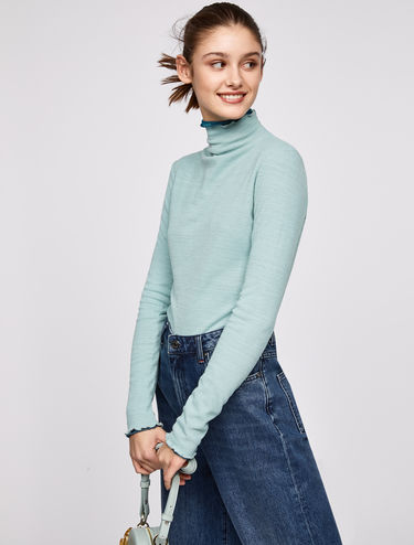 Slim-fit ribbed high-neck top