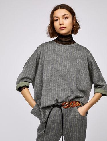 Oversized pinstripe T-shirt