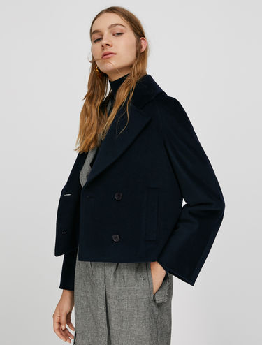 Pea coat in pure wool beaver cloth