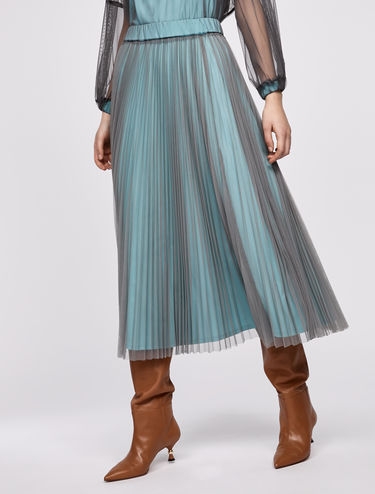 Double-layer pleated tulle skirt