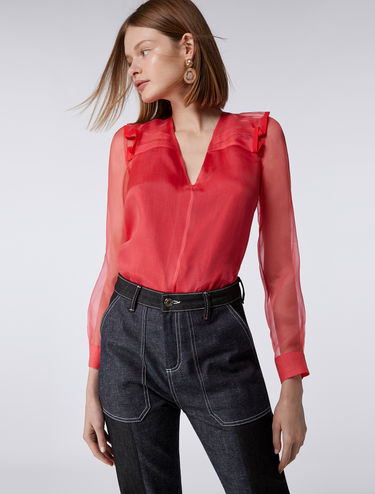 Silk organza blouse with frill detail