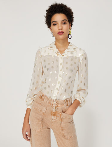 Lamé polka dot shirt