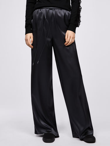 Satin trousers with drawstring