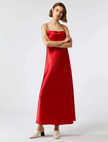 Strappy silk satin dress