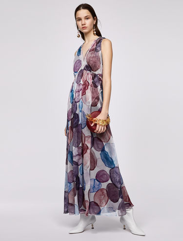 V-neck layered maxi dress